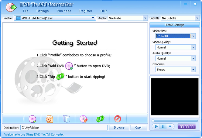 Shine DVD To AVI Converter Screenshot