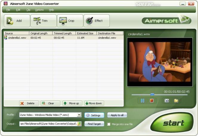 Aimersoft Zune Video Converter Screenshot