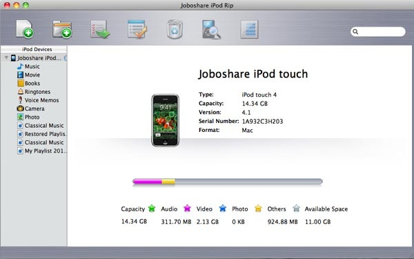 Joboshare iPod Rip for Mac Screenshot