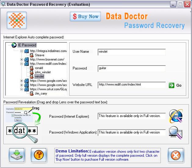 Internet Explorer Passwords Rescue Tool Screenshot