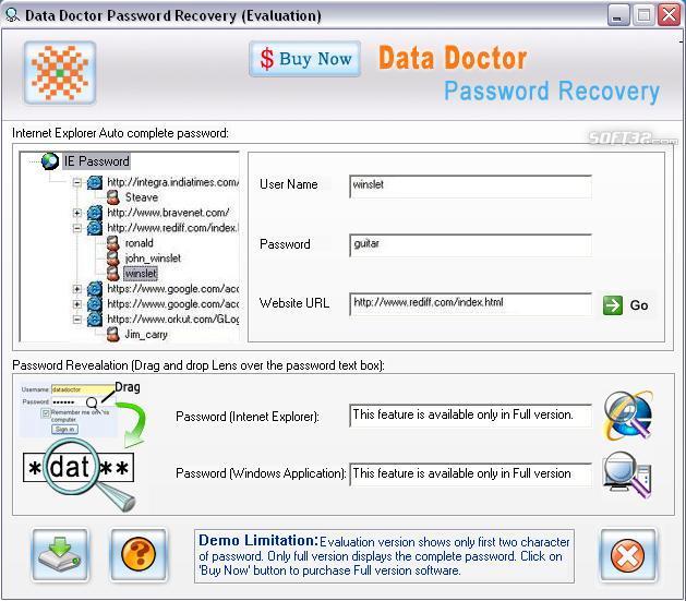 Internet Explorer Passwords Rescue Tool Screenshot 3