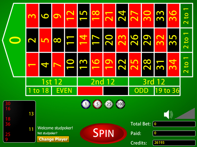Roulette Casino Game Screenshot