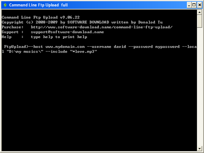 Command Line Ftp Upload Screenshot