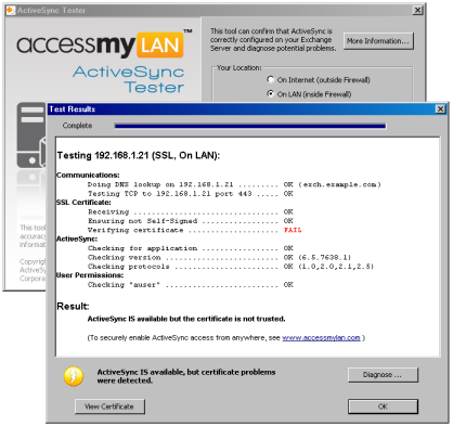 ActiveSync Tester from AccessMyLan Screenshot