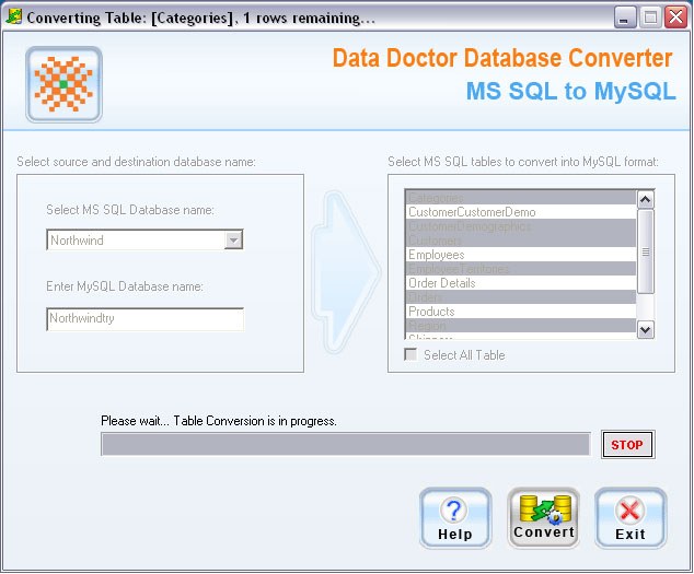 MSSQL Database To MySQL Migrator Screenshot 1