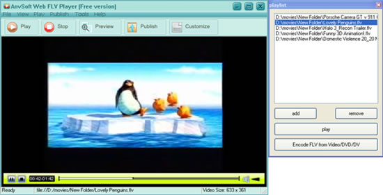 AnvSoft Web FLV Player Freeware Screenshot