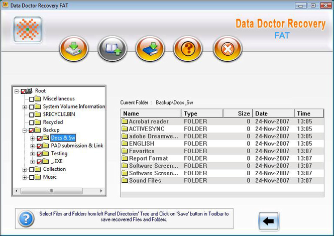 FAT Drive Data Recovery Software Screenshot