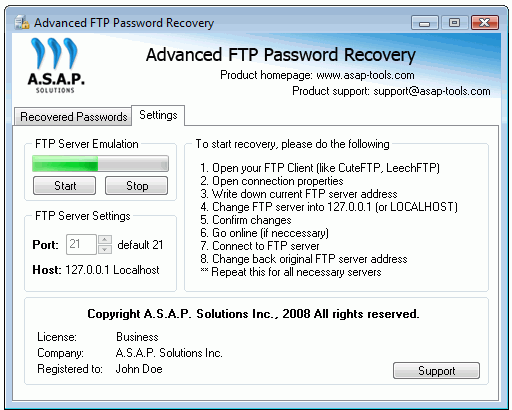 Advanced FTP Password Recovery Screenshot