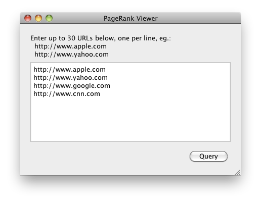 PageRank Viewer for Mac Screenshot