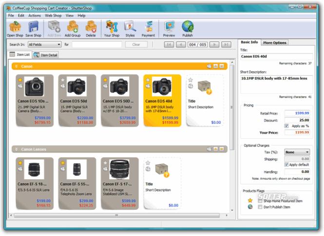 CoffeeCup Shopping Cart Creator Screenshot 3