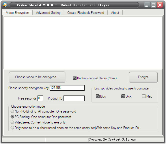 Video Password Setting Tool Screenshot