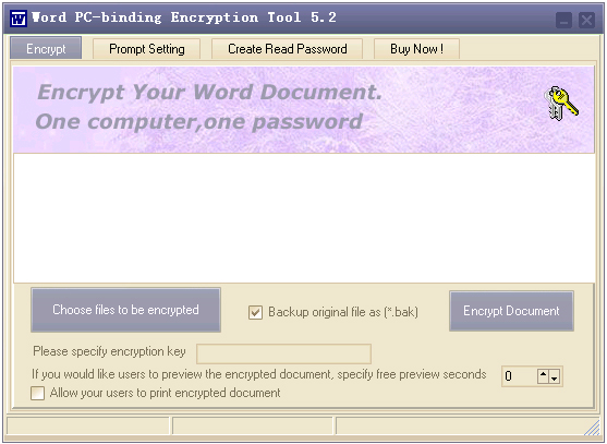 Word PC-binding Encryptor Screenshot 1