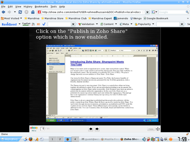 ZohoShare Plugin Screenshot
