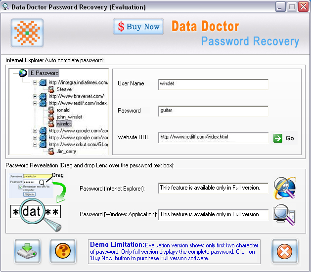 Internet Explorer Password Rescue Screenshot