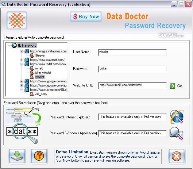 Internet Explorer Password Rescue Screenshot 2