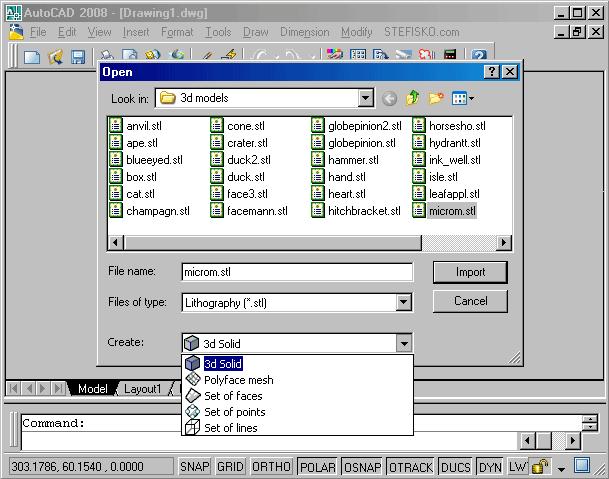 STL2CAD 2007 - Import STL Screenshot 1