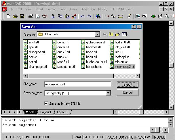 STL4CAD 2000 - Export STL Screenshot