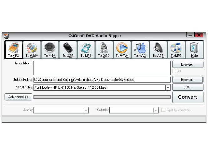 OJOsoft DVD Audio Ripper Screenshot