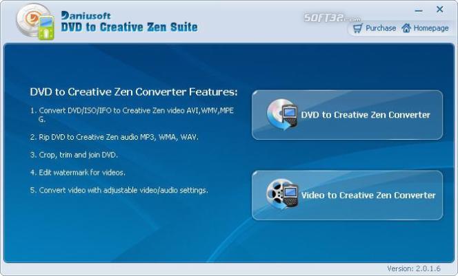 Daniusoft DVD to Creative Zen Suite Screenshot 1