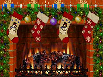 Christmas Decorated Fireplace Screenshot