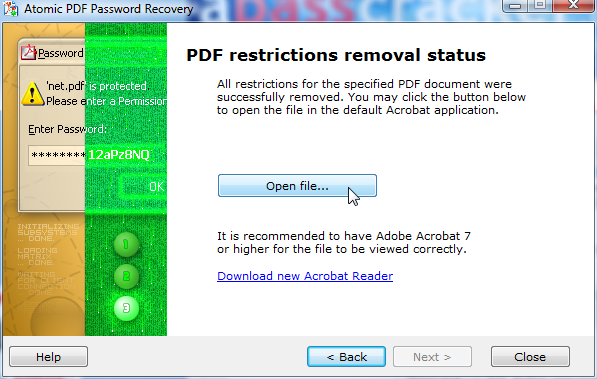 Atomic PDF Password Recovery Screenshot 1