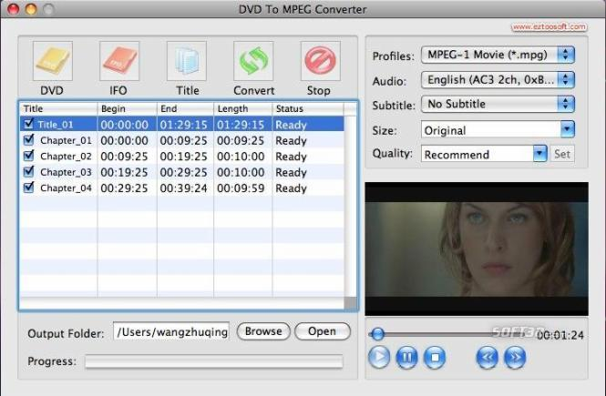 Convert DVD To MPEG for MAC Screenshot 3