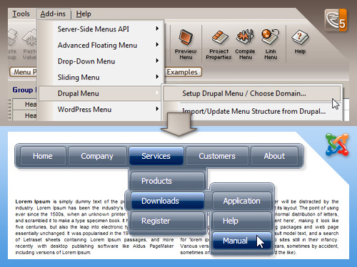 AllWebMenus Joomla Menu Addin Screenshot