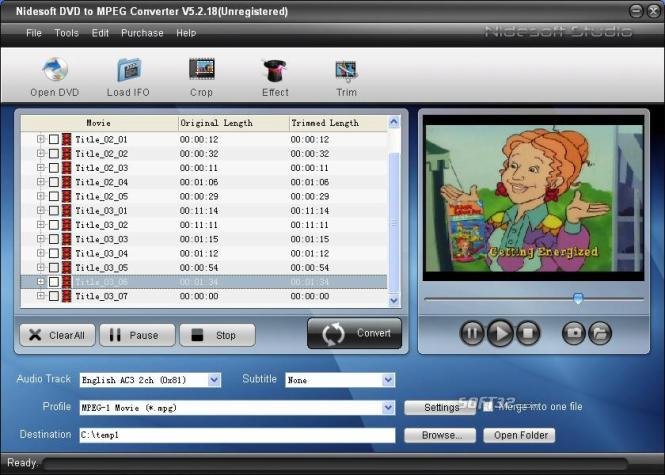 Nidesoft DVD to MPEG Converter Screenshot 2