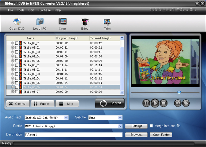 Nidesoft DVD to MPEG Converter Screenshot 3