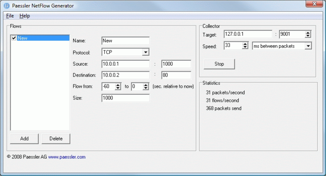 Paessler NetFlow Generator Screenshot