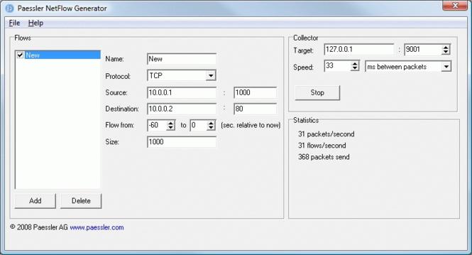 Paessler NetFlow Generator Screenshot 1