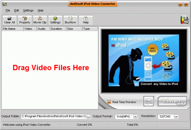 dvdXsoft iPod Video Converter Screenshot