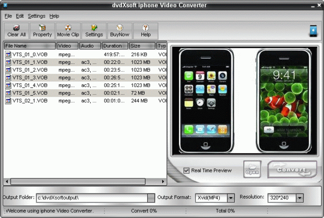 dvdXsoft iphone Video Converter Screenshot