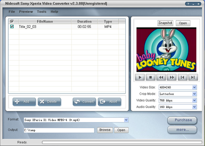 Nidesoft Sony XPeria Video Converter Screenshot