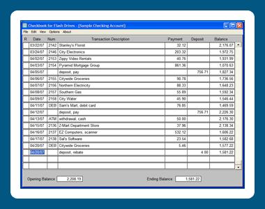 Checkbook for Flash Drives Screenshot