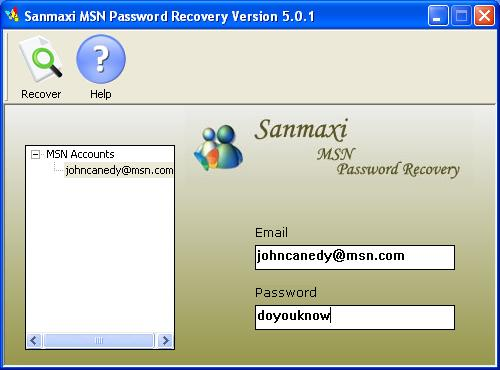 MSN Messenger Password Recovery Program Screenshot