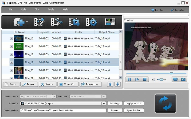 Tipard DVD to Creative Zen Converter Screenshot
