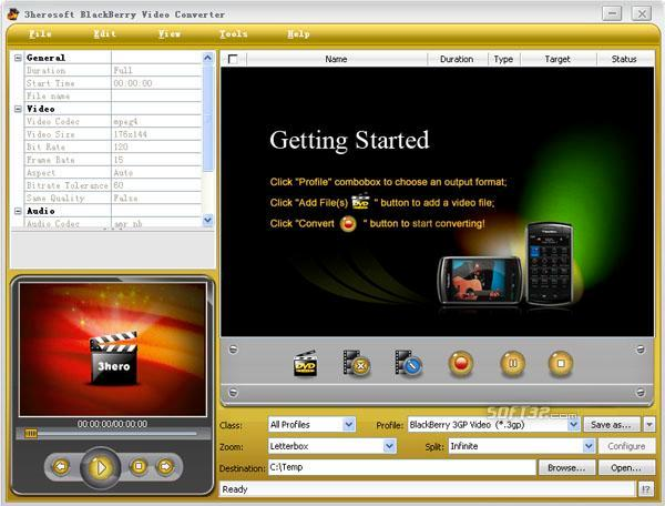 3herosoft BlackBerry Video Converter Screenshot 2