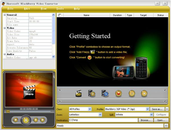 3herosoft BlackBerry Video Converter Screenshot