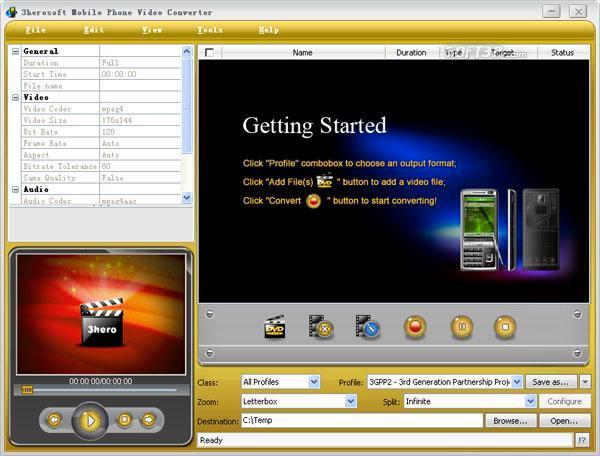 3herosoft Mobile Phone Video Converter Screenshot 2