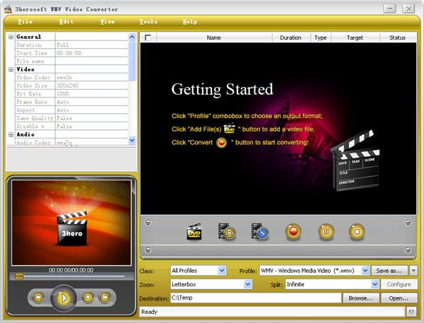 3herosoft WMV Video Converter Screenshot 1