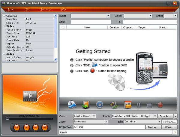 3herosoft DVD to BlackBerry Converter Screenshot 1