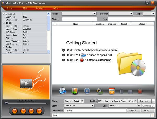 3herosoft DVD to WMV Converter Screenshot 1