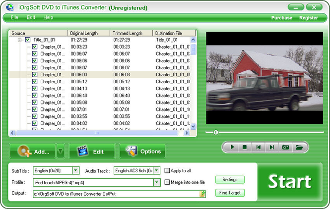 iOrgSoft DVD to iTunes Converter Screenshot