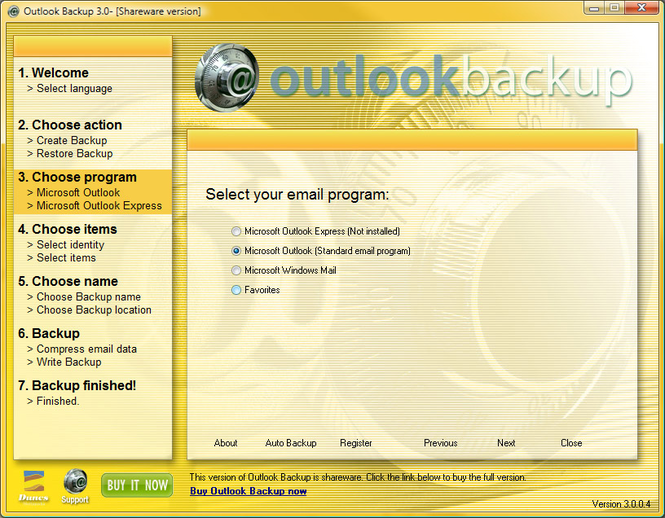 Outlook Backup Screenshot