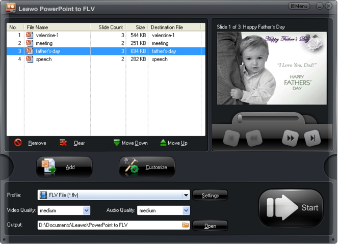 Leawo PowerPoint to FLV Screenshot