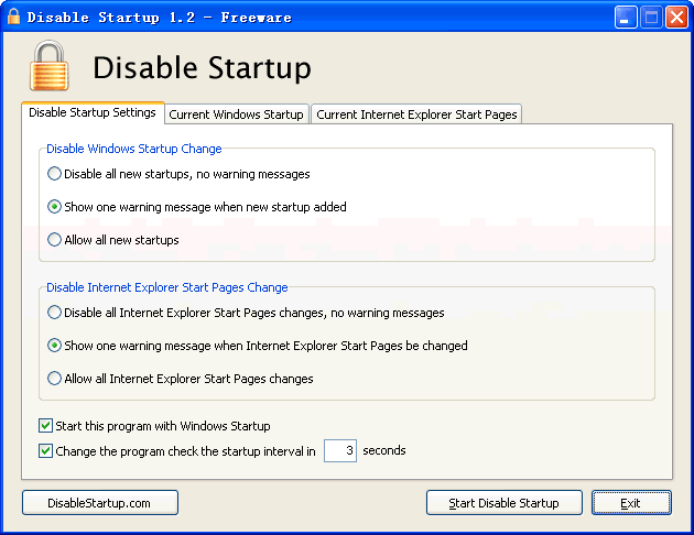 Disable Startup Screenshot 1