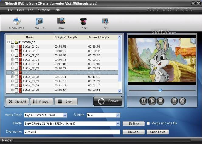 Nidesoft DVD to Sony XPeria Converter Screenshot 2