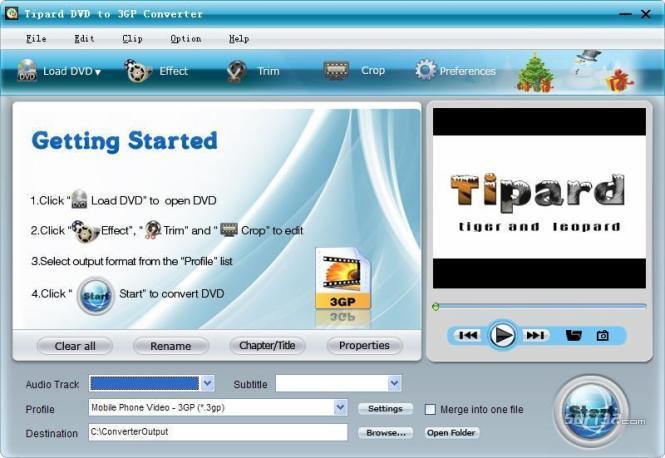 Tipard DVD to 3GP Converter Screenshot 2