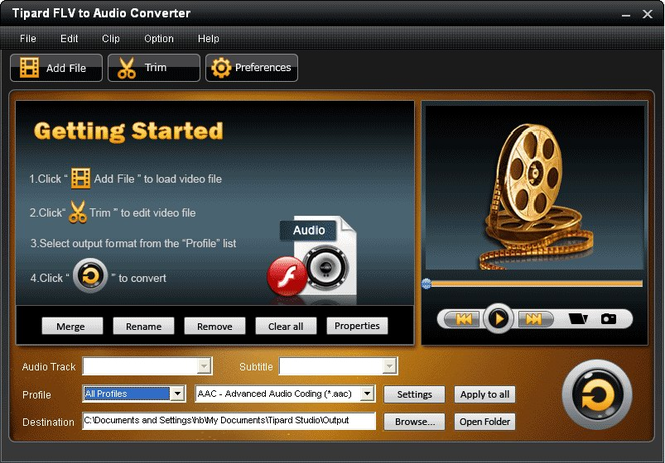 Tipard FLV to Audio Converter Screenshot